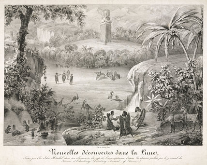 'New discoveries on the Moon', c 1838.