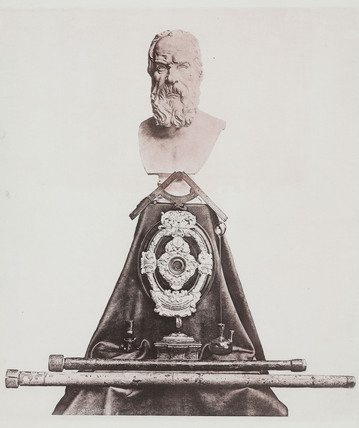 Bust of Galileo with instruments, c 1876.