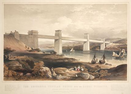 Britannia Tubular Bridge, Menai Straits, Wales, 1850.