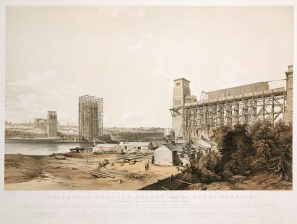 Britannia Tubular Bridge during its construction, Wales, May 1849.