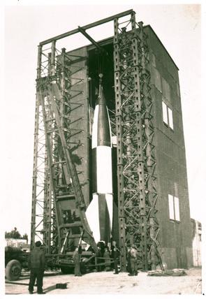 V2 rocket on launch pad, Operation Backfire, Cuxhaven, Germany, 1945.