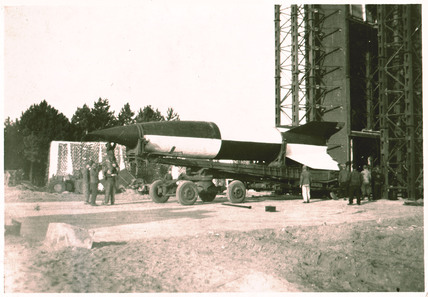 V2 rocket on launch pad, Operation Backfire, Cuxhaven, Germany, 1945.