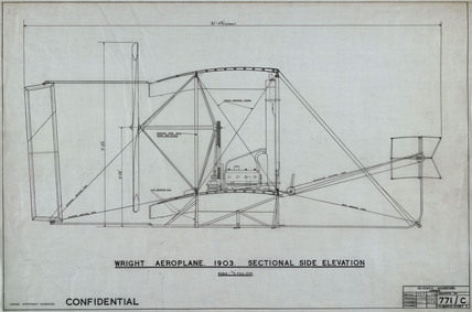 Sectional side elevation of Wright 'Flyer', 1903.