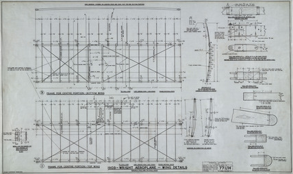 Wing details of Wright 'Flyer', 1903.