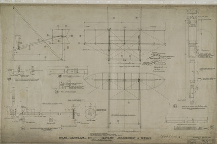 Elevator arrangement and details of Wright 'Flyer', 1903.