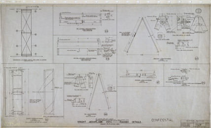 Rudder details of Wright 'Flyer', 1903.