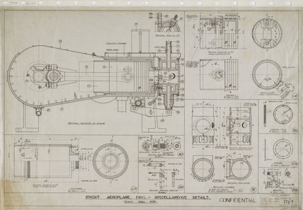 Miscellaneous details of engine of Wright 'Flyer', 1903.