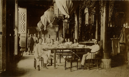 Paying land owners for land at the large temple at Tao Kou, China, c 1902-1904.