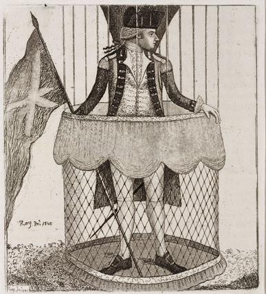 'Mr Lunardi in his basket ready to ascend', 1785.