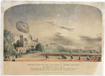 The destruction of the 'Victoria & Albert' balloon, 16 June 1851.