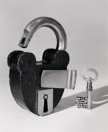 Large padlock with key.