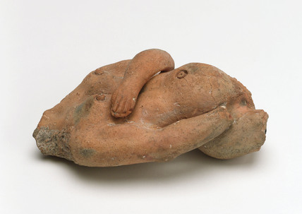 Votive offering in the form of a pregnant woman, Roman, c 100 BC -200 AD.