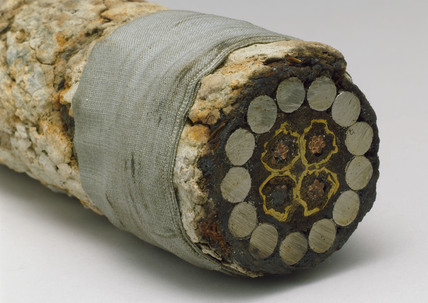 Sample of submarine telegraph cable, 1866.