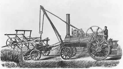 Aveling & Porter steam-powered reaper, 1876.
