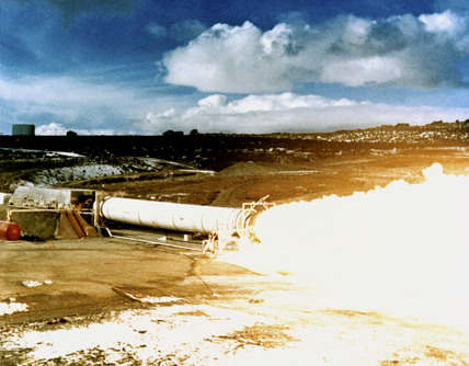 Static test firing DM-2 for Solid Rocket Booster, Utah, USA, 1978