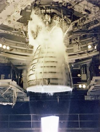 Space Shuttle Main Engine (SSME) test firing, USA, 1981.