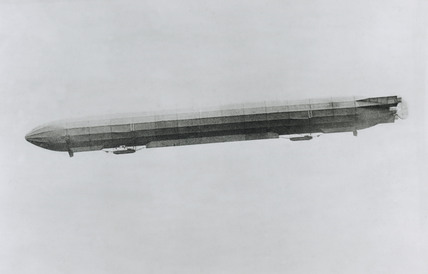 Zeppelin III in flight, 1910.