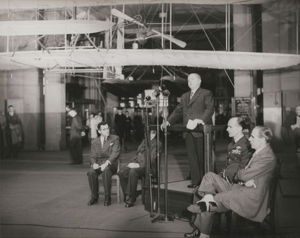 Ceremony marking the return of the Wright Flyer, Science Museum, 1948.