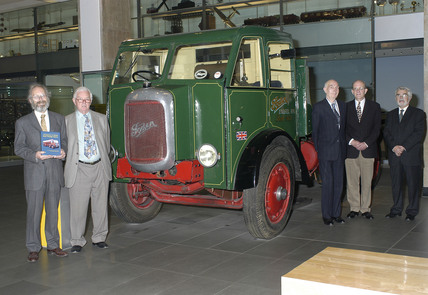 Five authors beside Foden truck, Science Museum, 8 May 2003.