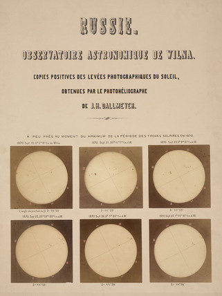The sun, photographed with a Dallmeyer heliograph, Vilnius, Lithuania, 1870.