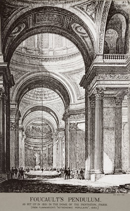 Demonstration of Foucault's pendulum at the Pantheon, Paris, France, 1880.