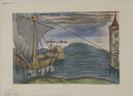 Ship and tower from 'Margarita Philosophica', London, 1535.