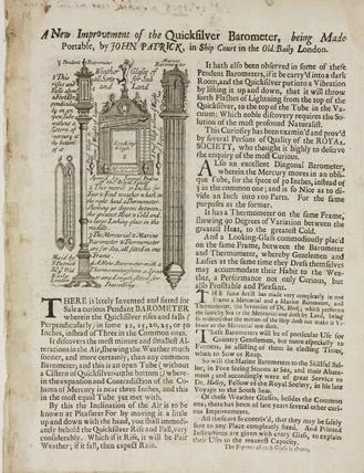 Trade card for John Patrick, London, late 18th century.