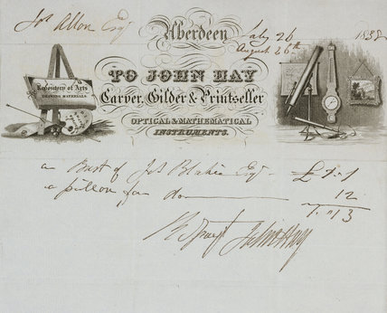 Receipt with letterheading, John Hay, Aberdeen, Scotland, 1838.