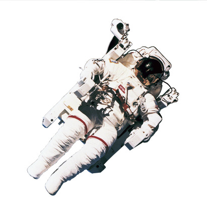 Astronaut Bruce McCandless on the first spacewalk using MMU, 1984.