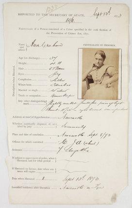 Prison registration card for Ann Graham, 13 September 1873.