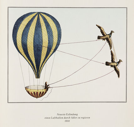 'Newest invention - an air balloon being piloted by Adler', 1801.