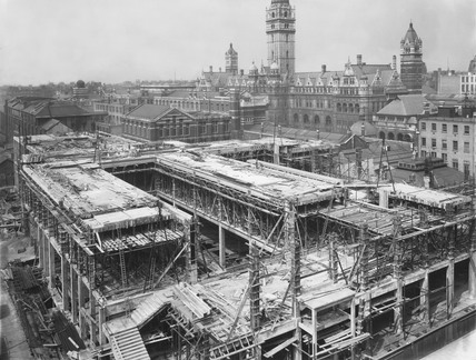Construction of the East Block, Science Museum, London, 28 April 1916.