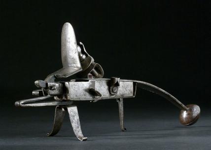 Tinder pistol, all steel grasshopper variety. European, 1750-1800.