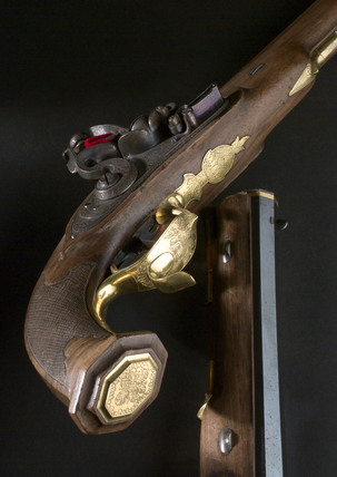 Pair of muzzle loading flintlock pistols. Russian, early 19th century.