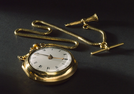 Gold pocket watch and chain, c 1768.