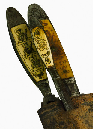 Knife, fork and steel in a leather sheath, Europe, 1551-1800.