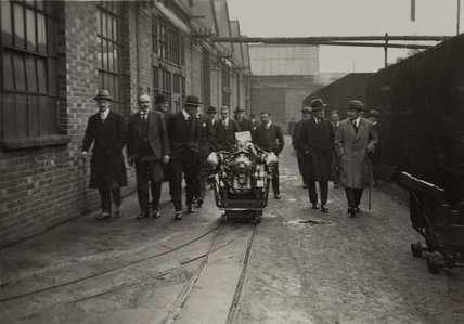 Unnamed Officials from the Ministry visiting Acton Works with George Wilkinson Chief Designer to see the lion engine on test