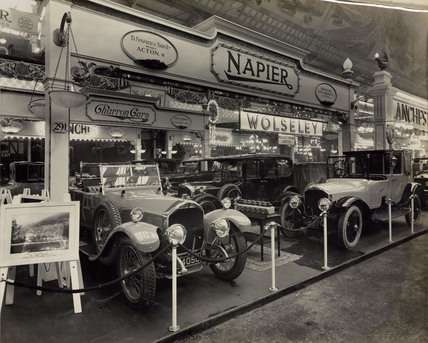 Napier Cars on exhibition stand at Olympia