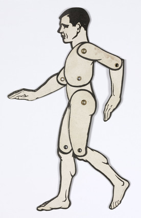 Lay silhouette figure of a man to aid figure drawing, 1930s.