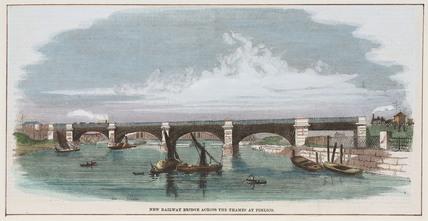 Railway bridge across the Thames at Pimlico, London, mid-19th century.