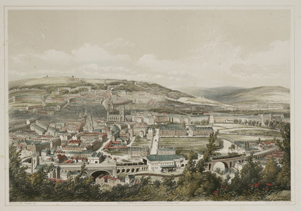'Bath from Beechen Cliff', North East Somerset, c 1840-1860.