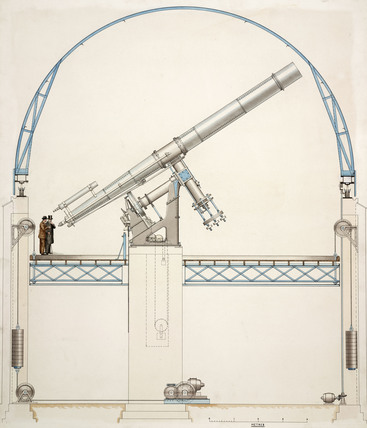 Equatorially mounted refracting telescope with dome, 1914.