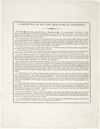 Instructions for use of the astronomical rotula by Thomas Jones, 1818.
