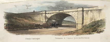 Railway cattle train, 19th century.