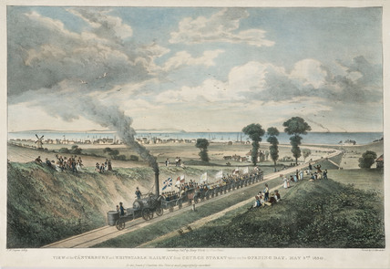 The opening of the Canterbury & Whitstable Railway, Kent, 1830.