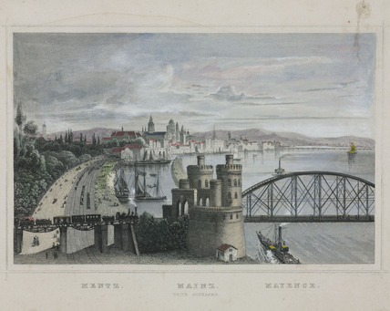 The river port of Mainz, Germany, 19th century.