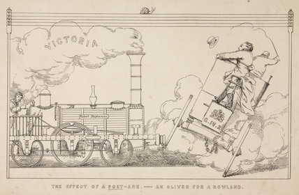 'The effect of a Post Age- An Oliver for a Rowland', c 1840.