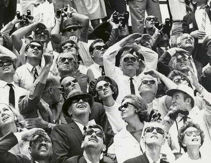 Crowd looking at Apollo 10 Liftoff, Kennedy Space Center, USA, 1969.