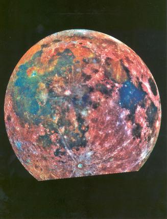 False colour view of the moon, April 1993.