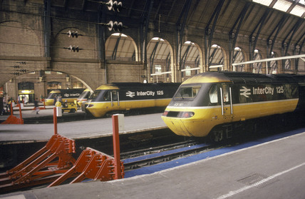 BR Inter-City 125 diesel locomotives at King's Cross, London, c 1980s.